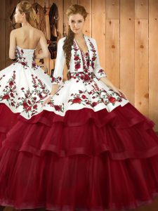 Sweetheart Sleeveless Sweep Train Lace Up Quinceanera Gown Wine Red Organza