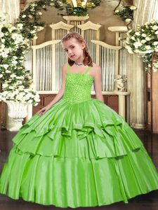 Yellow Green Straps Neckline Beading and Ruffled Layers Little Girls Pageant Gowns Sleeveless Lace Up