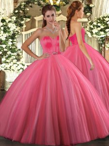 Fantastic Coral Red Sweetheart Lace Up Beading Ball Gown Prom Dress Sleeveless