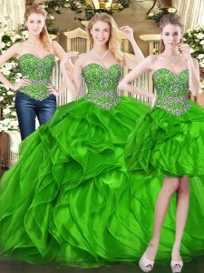 Green Sweetheart Lace Up Beading and Ruffles Quinceanera Dresses Sleeveless