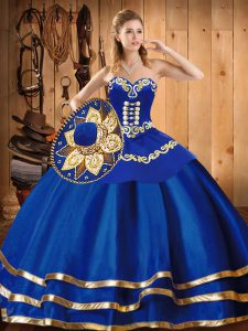 Chic Blue Sleeveless Embroidery Floor Length Sweet 16 Dress
