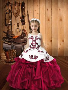 Classical Floor Length Ball Gowns Sleeveless Fuchsia Little Girls Pageant Dress Lace Up