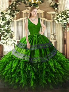 Custom Made Green Ball Gowns Beading and Lace and Ruffles Quinceanera Dress Backless Organza Sleeveless Floor Length