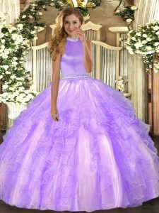 Organza Halter Top Sleeveless Backless Beading and Ruffles 15th Birthday Dress in Lavender