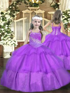 Top Selling Straps Sleeveless Organza Pageant Dress for Teens Beading and Ruffled Layers Lace Up