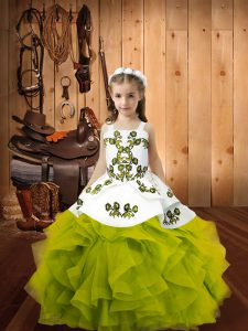 Straps Sleeveless Organza Pageant Gowns For Girls Embroidery and Ruffles Lace Up