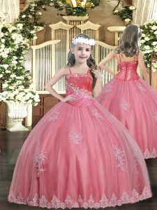 Perfect Watermelon Red Straps Lace Up Appliques Pageant Dress for Teens Sleeveless
