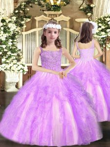Straps Sleeveless Little Girls Pageant Gowns Floor Length Beading and Ruffles Lilac Organza