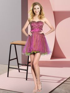 Attractive Sleeveless Beading and Sequins Lace Up Dama Dress for Quinceanera