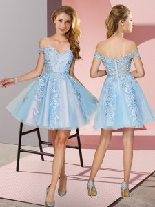 Luxury Light Blue A-line Appliques Court Dresses for Sweet 16 Zipper Tulle Sleeveless Mini Length