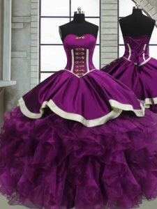 Purple Ball Gowns Beading and Ruffles Quince Ball Gowns Lace Up Satin and Organza Sleeveless Floor Length