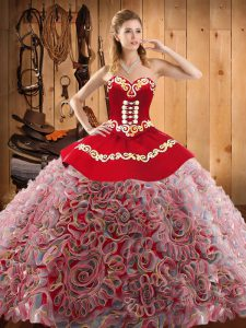 Dramatic With Train Multi-color Vestidos de Quinceanera Satin and Fabric With Rolling Flowers Sweep Train Sleeveless Embroidery