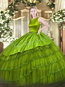 Free and Easy Olive Green Satin and Organza Lace Up 15th Birthday Dress Sleeveless Floor Length Embroidery and Ruffled Layers