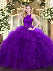 Elegant Scoop Sleeveless Ball Gown Prom Dress Floor Length Ruffles Purple Organza