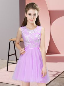 Latest Lilac Sleeveless Tulle Side Zipper Vestidos de Damas for Prom and Party and Wedding Party