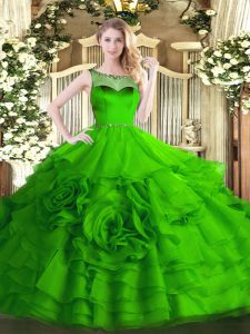 Custom Designed Scoop Zipper Beading and Ruffled Layers Vestidos de Quinceanera Sleeveless