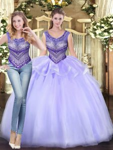 Lavender Sweet 16 Dress Military Ball and Sweet 16 and Quinceanera with Beading and Ruffles Scoop Sleeveless Lace Up