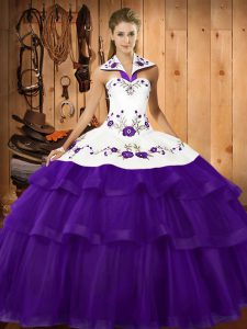 New Style Purple Sleeveless Embroidery and Ruffled Layers Lace Up 15th Birthday Dress