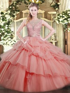 Cheap Sleeveless Tulle Floor Length Backless Ball Gown Prom Dress in Watermelon Red with Beading and Ruffled Layers