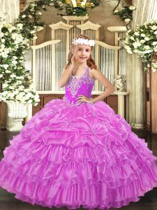 Lilac Ball Gowns Organza V-neck Sleeveless Beading and Ruffled Layers and Pick Ups Floor Length Lace Up Little Girl Pageant Gowns