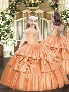 Discount Off The Shoulder Sleeveless Lace Up Child Pageant Dress Orange Organza