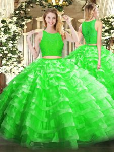 Sexy Lace and Ruffled Layers Sweet 16 Dresses Green Zipper Sleeveless Floor Length
