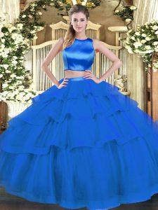Simple Blue Sleeveless Tulle Criss Cross Sweet 16 Quinceanera Dress for Military Ball and Sweet 16 and Quinceanera
