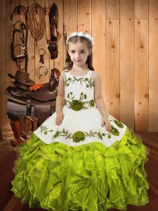 Olive Green Little Girls Pageant Dress Sweet 16 and Quinceanera with Embroidery and Ruffles Straps Sleeveless Lace Up