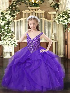 Sleeveless Beading and Ruffles Zipper Pageant Gowns For Girls