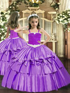 Inexpensive Floor Length Lavender Little Girls Pageant Dress Organza Sleeveless Appliques and Ruffled Layers