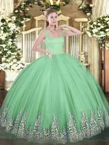 Floor Length Apple Green Ball Gown Prom Dress Tulle Sleeveless Appliques