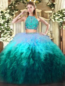 Multi-color Tulle Zipper 15 Quinceanera Dress Sleeveless Floor Length Beading and Ruffles