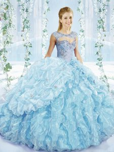 Great Beading and Ruffles and Pick Ups Quinceanera Dresses Blue Lace Up Sleeveless