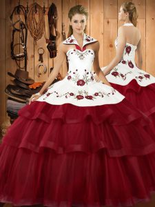 Noble Wine Red Organza Lace Up Halter Top Sleeveless Ball Gown Prom Dress Sweep Train Embroidery and Ruffled Layers