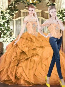 Exquisite Orange Red Ball Gowns Off The Shoulder Sleeveless Organza Floor Length Lace Up Beading and Ruffles Quinceanera Dresses