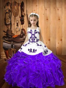 Best Straps Sleeveless Organza Pageant Gowns For Girls Embroidery and Ruffles Lace Up