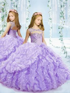 Lovely Lavender Kids Pageant Dress Party and Quinceanera and Wedding Party with Beading and Ruffles and Pick Ups Scoop Sleeveless Lace Up