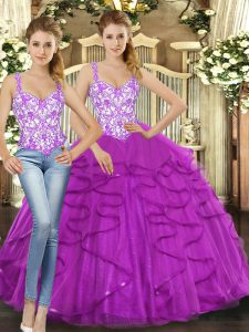 Fuchsia Sleeveless Tulle Lace Up Sweet 16 Quinceanera Dress for Military Ball and Sweet 16 and Quinceanera