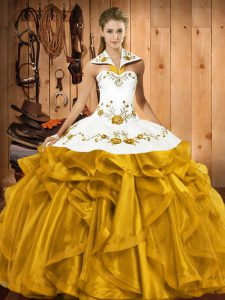 Gold Halter Top Neckline Embroidery and Ruffles Quinceanera Dress Sleeveless Lace Up