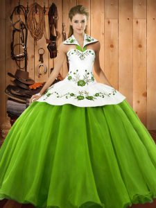 Best Satin and Tulle Sleeveless Floor Length Quinceanera Dresses and Embroidery