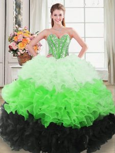 Stunning Floor Length Lace Up Quince Ball Gowns Multi-color for Sweet 16 and Quinceanera with Beading and Ruffles