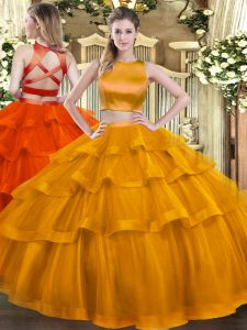 Inexpensive Sleeveless Tulle Floor Length Criss Cross 15 Quinceanera Dress in Rust Red with Ruffled Layers