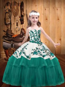 Turquoise Pageant Dress for Teens Straps Sleeveless Lace Up