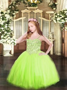 Tulle Sleeveless Floor Length Little Girls Pageant Dress Wholesale and Appliques