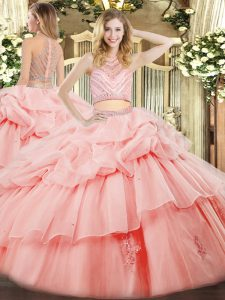 Edgy Tulle Sleeveless Floor Length Quinceanera Dress and Beading and Ruffles