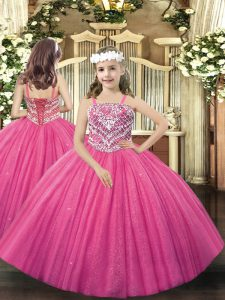 Beading Little Girl Pageant Gowns Hot Pink Lace Up Sleeveless Floor Length