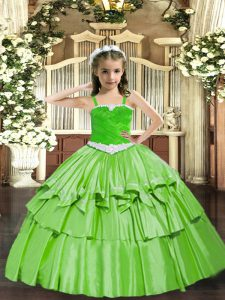 Sleeveless Lace Up Floor Length Appliques and Ruffled Layers Winning Pageant Gowns