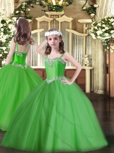 Green Sleeveless Sweep Train Beading Little Girls Pageant Dress