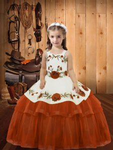 Rust Red Ball Gowns Organza Straps Sleeveless Embroidery and Ruffled Layers Floor Length Lace Up Girls Pageant Dresses