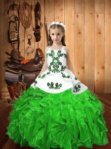 Glorious Lace Up Straps Embroidery and Ruffles Little Girls Pageant Dress Organza Sleeveless